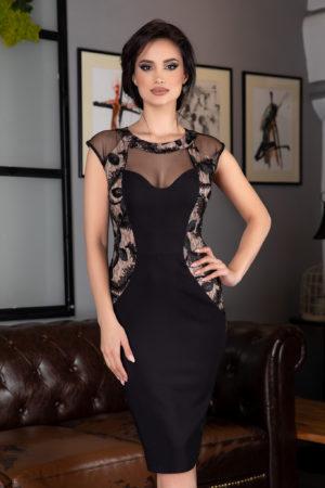 Rochie midi neagra conica eleganta de ocazie prevazuta cu dantela, strass-uri si tull delicat Indicia