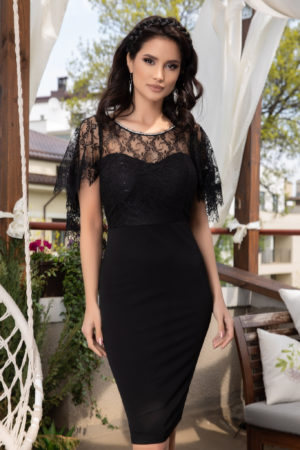 Rochie midi neagra eleganta cu dantela si strass-uri Karmine pentru femei plinute