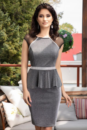 Rochie de ocazie argintie scurta eleganta cu peplum in talie Kasilda