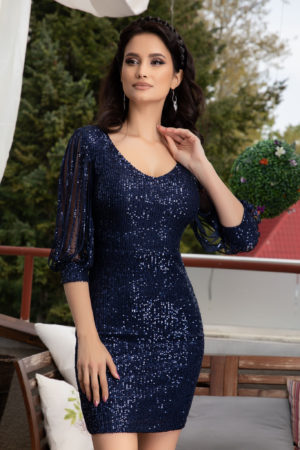 Rochie scurta bleumarin din paiete cu maneci lungi din tull prevazute cu strass-uri moderne Katriss