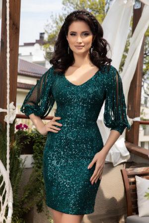 Rochie scurta verde din paiete cu maneci lungi din tull prevazute cu strass-uri moderne Katriss