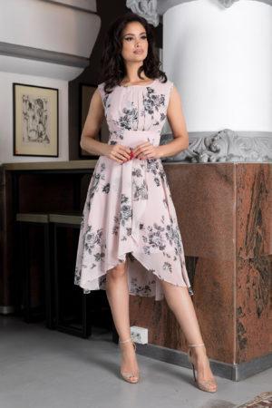 Rochie eleganta asimetrica roz de ocazie din material diafan cu imprimeu floral Kaytlin