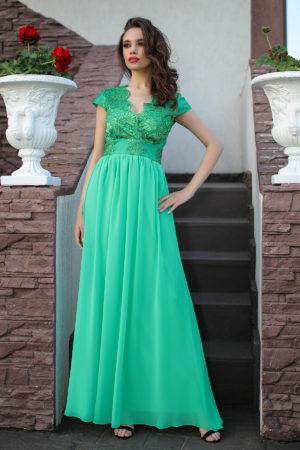 Rochie verde lunga de seara eleganta accesorizata cu broderie si tull Khalitheea
