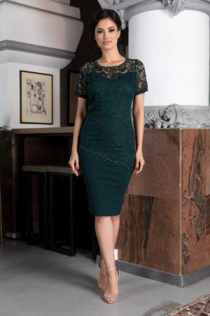Rochie de ocazie verde pentru femei plinute accesorizata cu dantela si strass-uri Kristen
