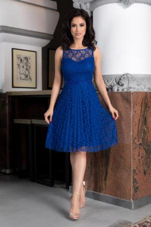 Rochie eleganta de ocazie albastra din dantela cu croila in clos prevazuta cu bust buretat si pietre strass Kyrra
