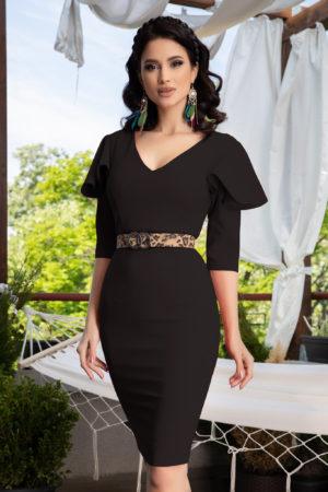 Rochie midi conica neagra eleganta cu maneci trei sferturi cu volanase La Donna Kerry