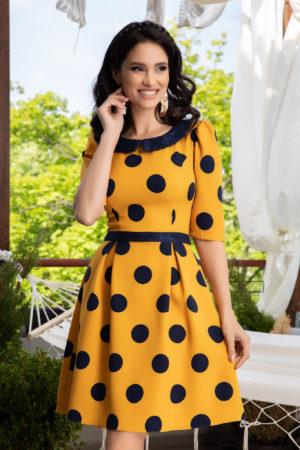 Rochie galben mustar cu buline negre pentru ocazii speciale La Donna Nadira
