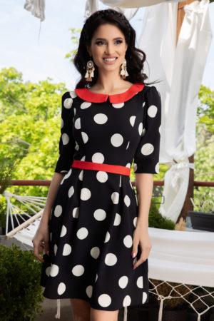Rochie neagra cu buline albe pentru ocazii speciale La Donna Nadira