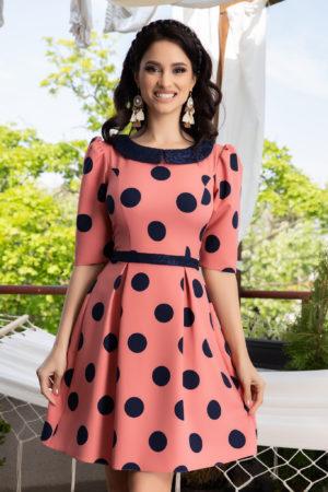 Rochie roz cu buline negre pentru ocazii speciale La Donna Nadira