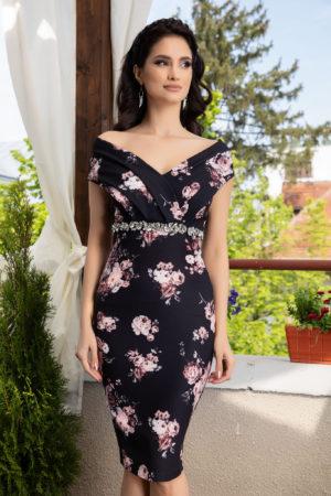 Rochie de ocazie neagra midi cu imprimeu floral si bust buretat accesorizata cu strass-uri in talie Leticia