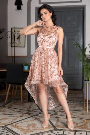 Rochie roz asimetrica de ocazie cu bust buretat si aplicatii de paiete cu sclipici Lorette