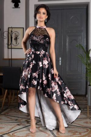 Rochie asimetrica de vara neagra din tafta cu imprimeu floral colorat prevazuta cu mici paiete discrete Loving