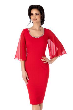 Rochie de ocazie rosie cu maneci din voal tip fluture Lysandra pentru femei plinute