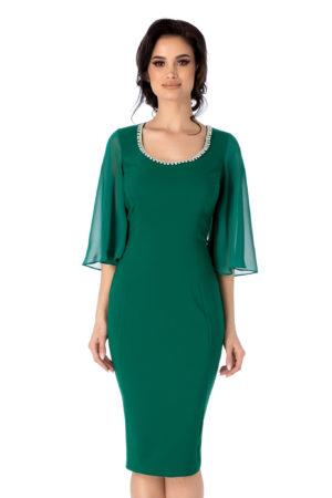 Rochie de ocazie verde cu maneci din voal tip fluture Lysandra pentru femei plinute