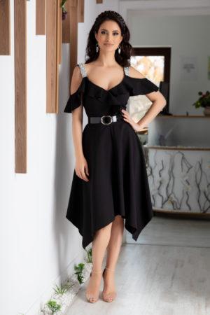 Rochie neagra asimetrica prevazuta cu bust buretat si strass-uri Nadine