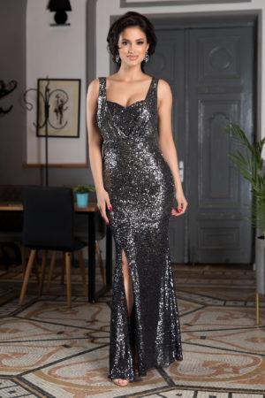Rochie de seara lunga neagra din paiete cu crapatura pe picior si bust buretat sustinut de bretele subtiri Night Diva
