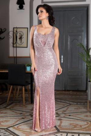 Rochie de seara lunga roz din paiete cu crapatura pe picior si bust buretat sustinut de bretele subtiri Night Diva