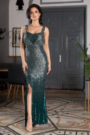 Rochie de seara lunga verde din paiete cu crapatura pe picior si bust buretat sustinut de bretele subtiri Night Diva