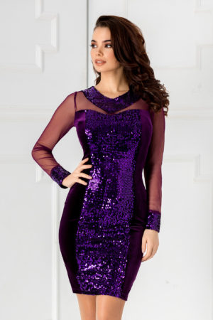 Rochie scurta de seara violet din catifea cu paiete aplicate Noryana