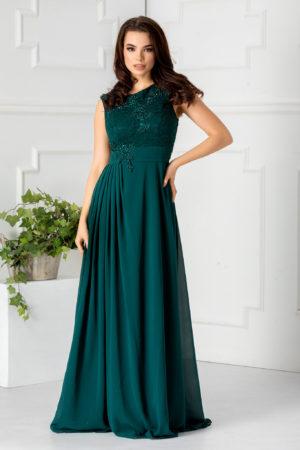Rochie lunga verde de seara eleganta prevazuta cu dantela si strass-uri Odiseea