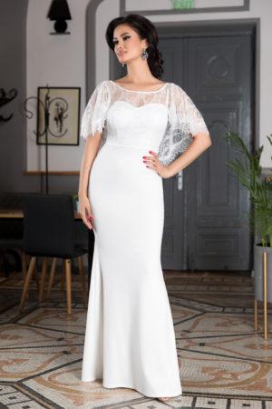 Rochie de seara alba lunga eleganta cu spatele gol accesorizata cu dantela si pietre strass Olimpia