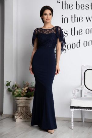 Rochie de seara bleumarin lunga eleganta cu spatele gol accesorizata cu dantela si pietre strass Olimpia