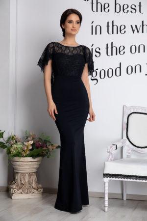 Rochie de seara neagra lunga eleganta cu spatele gol accesorizata cu dantela si pietre strass Olimpia