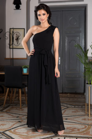 Rochie one shoulder neagra lunga asimetrica realizata din voal cu crapatura pe picior Romantic Look