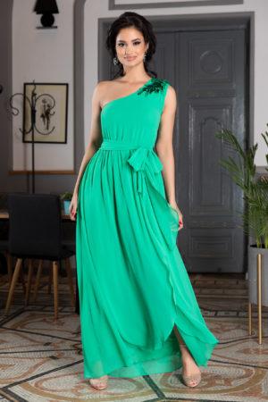 Rochie one shoulder verde lunga asimetrica realizata din voal cu crapatura pe picior Romantic Look