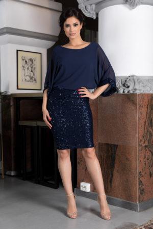 Rochie midi bleumarin pentru femei plinute Rowana realizata din voal diafan si paiete stralucitoare