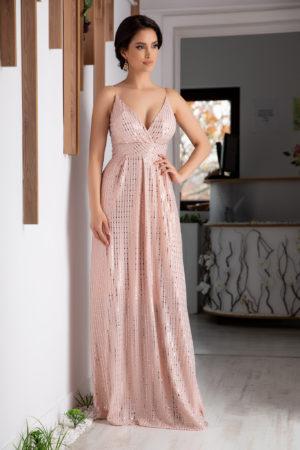 Rochie lunga roz de ocazie eleganta cu paiete si insertii de fir argintiu prevazuta cu bust buretat Samira