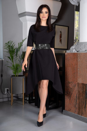 Rochie neagra asimetrica de ocazie realizata din material usor elastic Sarah