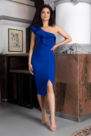 Rochie midi albastra de ocazie mulata pe corp accesorizata cu volane in zona decolteului Scarlett