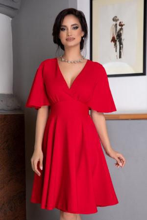 Rochie de ocazie rosie scurta vaporoasa cu maneci tip fluture Siena
