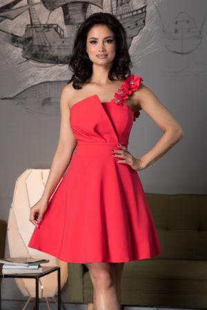 Rochie scurta corai one shoulder de ocazie eleganta cu croiala vaporoasa in stil baby doll Sofia
