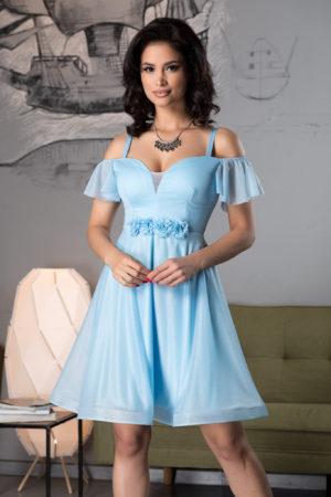 Rochie baby doll albastra scurta eleganta din voal diafan cu sclipici si flori 3D handmade Sonique