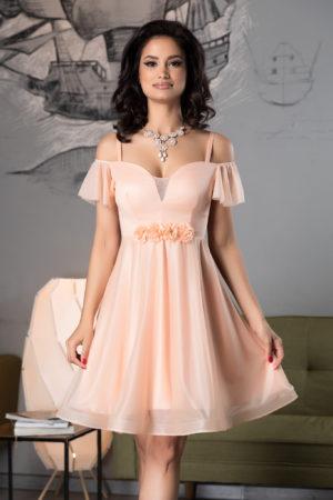 Rochie baby doll roz piersica scurta eleganta din voal diafan cu sclipici si flori 3D handmade Sonique