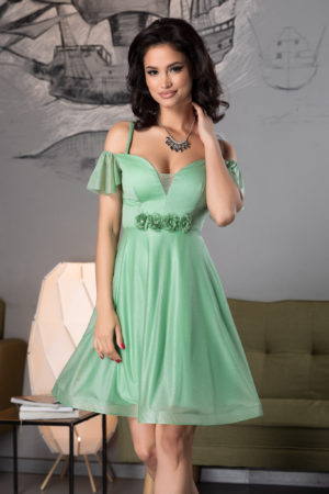 Rochie baby doll verde scurta eleganta din voal diafan cu sclipici si flori 3D handmade Sonique