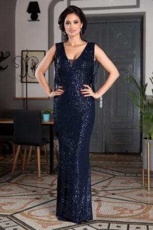 Rochie de seara lunga bleumarin din paiete prevazuta cu decolteu in V si franjuri Sophisticated