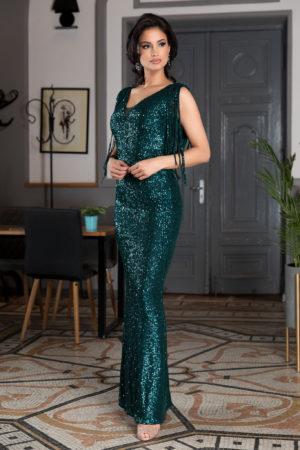 Rochie de seara lunga verde din paiete prevazuta cu decolteu in V si franjuri Sophisticated