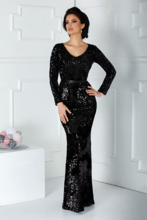 Rochie de seara neagra sirena lunga pana in pamant cu maneci lungi realizata din catifea cu paiete Sparkle