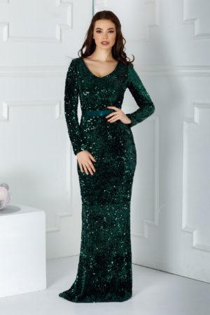 Rochie de seara verde sirena lunga pana in pamant cu maneci lungi realizata din catifea cu paiete Sparkle