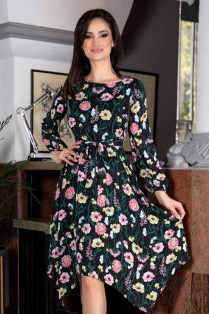 Rochie neagra eleganta de vara cu imprimeu floral colorat prevazuta cu maneci lungi vaporoase Susan