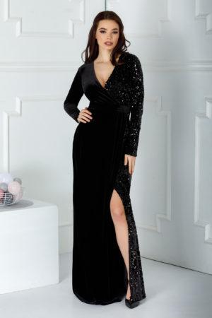 Rochie de seara neagra lunga eleganta cu crapatura adanca pe picior si aplicatii de paiete stralucitoare Swan