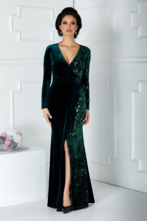 Rochie de seara verde lunga eleganta cu crapatura adanca pe picior si aplicatii de paiete stralucitoare Swan
