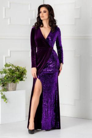 Rochie de seara violet lunga eleganta cu crapatura adanca pe picior si aplicatii de paiete stralucitoare Swan