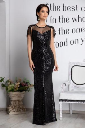 Rochie neagra tip sirena eleganta de seara realizata din paiete cu franjuri Terra