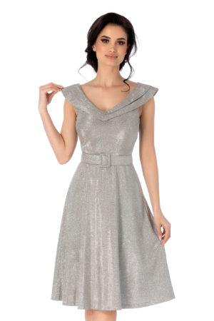 Rochie midi argintie in cos eleganta cu decolteu in V accesorizata cu o curea in talie Tiarra