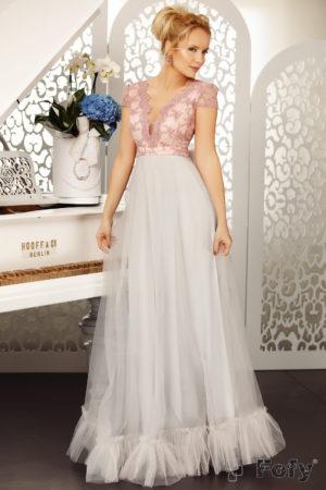 Rochie de seara cu spatele decupat si broderie eleganta Trendiness