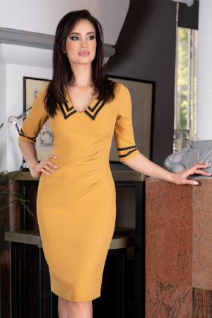 Rochie de zi office galben mustar midi cu maneci trei sferturi Trisha